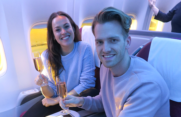 Champagne drinken op 10 kilometer hoogte.